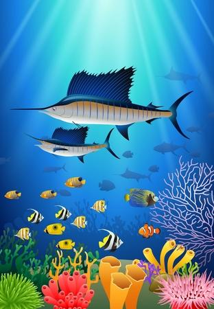 水の下で泳ぐカジキ漫画の動物キャラクター。