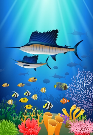 marline: Sailfish Swimming Under Water Cartoon Animal Character. Illustration