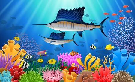 水の下で泳ぐカジキ漫画の動物キャラクター。ベクトルの図。 写真素材 - 87944453