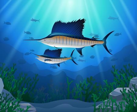 水の下で泳ぐカジキ漫画の動物キャラクター。ベクトルの図。