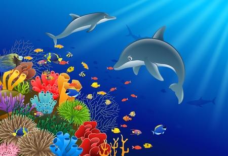 Ilustracja podwodne delfinów. Ilustracje wektorowe
