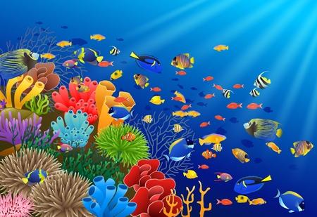 水の図の下で魚します。  イラスト・ベクター素材