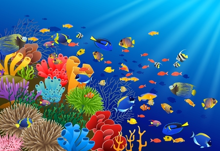 Vissen onder waterillustratie.