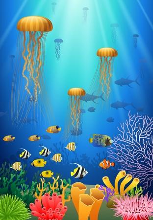 クラゲが泳ぐ水中やサンゴ。ベクトル図  イラスト・ベクター素材