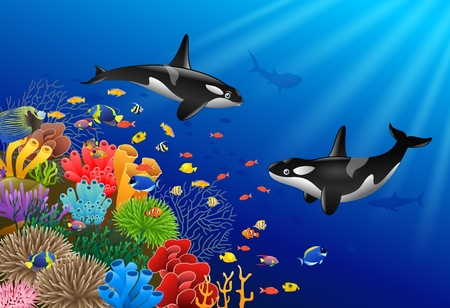 Whales with coral under water illustration.