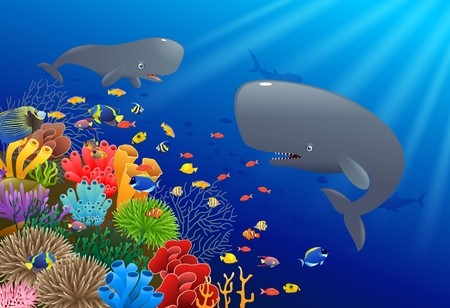 Cartoon sperm whale swimming in the sea. Vector illustration