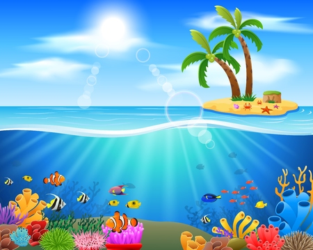 Colorful coral reef with fish on a blue sea background. vector illustration