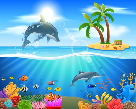 floating: Cartoon dolphin jumping in blue ocean background. vector illustration
