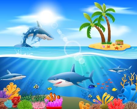 Beeldverhaalhaai die op blauwe oceaanachtergrond springen. vectorillustratie Vector Illustratie