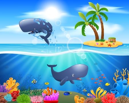 만화 고래 고래 푸른 바다 배경에서 점프입니다. 벡터 일러스트 레이 션