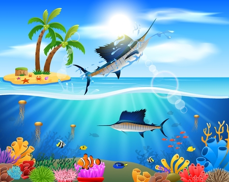 Cartoon sailfish jumping in blue ocean background. vector illustration