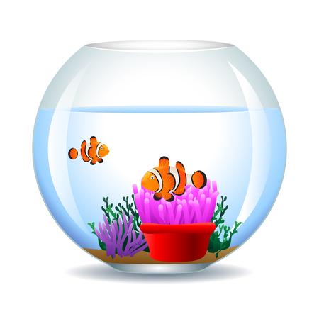 swimming glasses: Aquarium with clown fish icon.