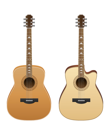 Acoustic guitars isolated on white background. Vector illustration Illustration