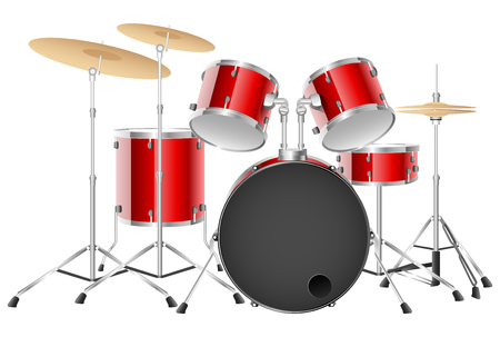 Realistic red drum set on a white background. Vector illustration Illustration