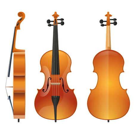 Violin or contrabass musical instrument with bow sketch icon. Vector illustration Illustration