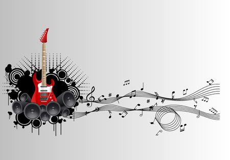 Note fuori dalla chitarra, note dell'icona della mosca della chitarra, illustrazione di vettore Vettoriali