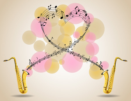 Saxophone and music notes on poster. Vector illustration