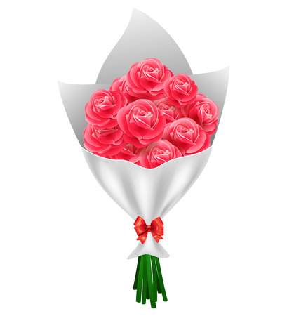 Valentine`s day Red roses bouquet isolated on white background. Vector illustration.