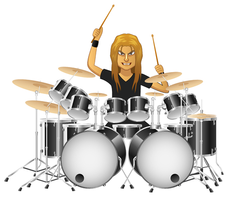 Rock musician drummer famously plays the drums, isolated background. Vector illustration Vectores