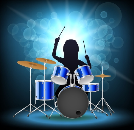 Rock musician drummer famously plays the drums, isolated background. Vector illustration Vettoriali