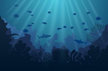 Ozeanunterwasserwelt mit Tieren, Vektorillustration