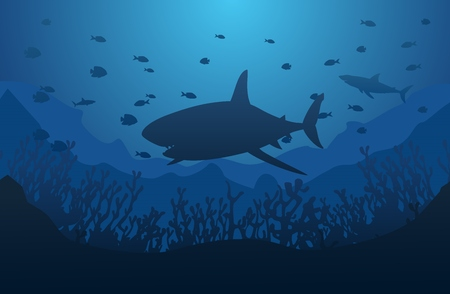 Ocean underwater world with shark, vector illustration