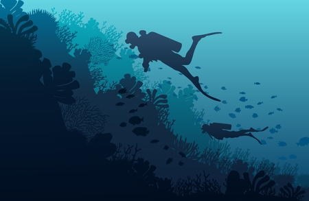 Silueta de buzo, arrecife de coral y cueva submarina sobre un fondo azul del mar. Ilustración vectorial