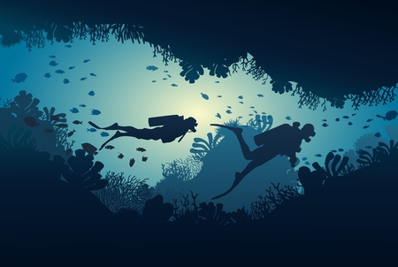 Silhouette of diver, coral reef and underwater cave on a blue sea background. Vector illustration. Иллюстрация