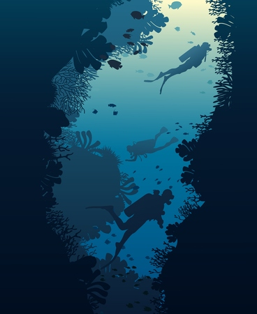 Silhouette of diver, coral reef and underwater cave on a blue sea background. Vector illustration. Illustration