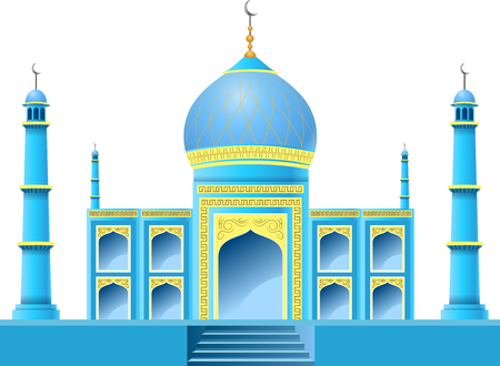 Islamic mosque building isolated on white background. Vector illustration