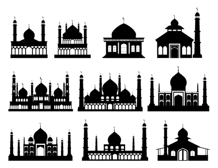 Islamic buildings silhouettes. Mosques and minarets with crescents. Vector illustration  イラスト・ベクター素材