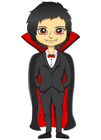 Happy halloween Cartoon vampire isolated on white background. Vector illustration Stock Illustratie