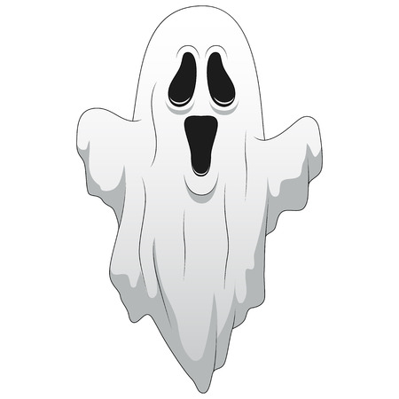 Happy halloween Cartoon ghost isolated on white background. Vector illustration