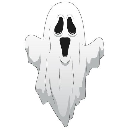 Glücklicher Halloween-Karikaturgeist lokalisiert auf weißem Hintergrund. Vektorillustration
