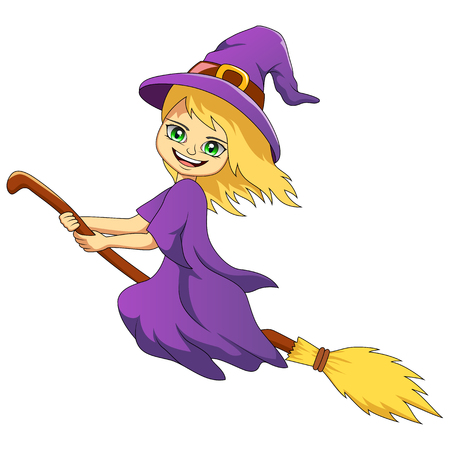 Happy halloween Cartoon witch isolated on white background. Vector illustration