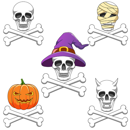 Cartoon skull mascot or Halloween character isolated on white background. Vector illustration
