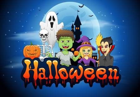 Happy Halloween background with pumpkin, haunted house and full moon. Vector illustration Stock Illustratie