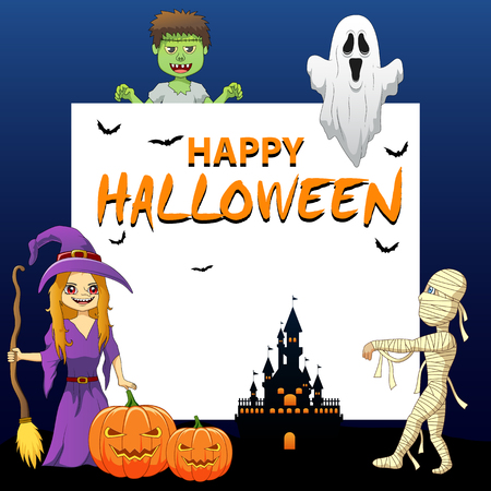 Happy Halloween background with pumpkin, haunted house. Vector illustration