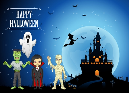 Happy Halloween background with pumpkin, haunted house and full moon. Vector illustration Illustration