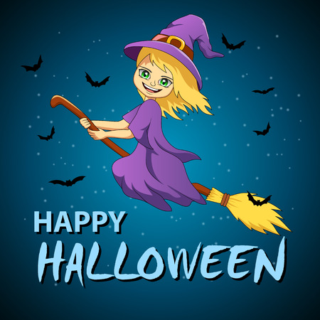 Halloween flying little witch. Girl kid in halloween costume flying. Vector illustration