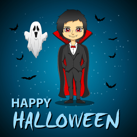 Happy halloween. Design of vampire with ghost and dark background. Vector illustration