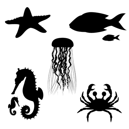Silhouettes of fish and sea animals isolated black and white. Vector illustration Stock Illustratie