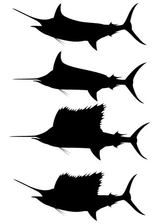 Set of silhouettes blue marlin and swordfish on a white background. Vector illustration Stock Illustratie