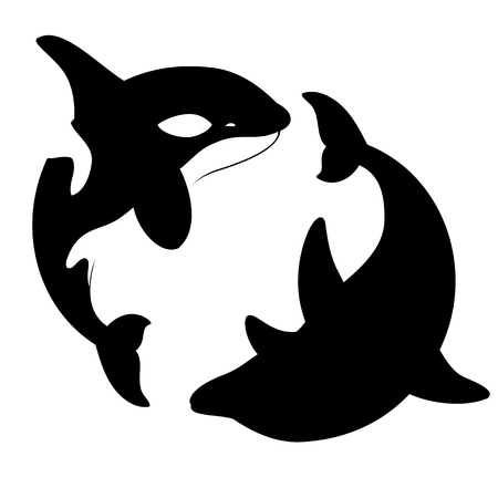 Silhouettes killer whales and dolphins spin in a circle. Vector illustration Illustration