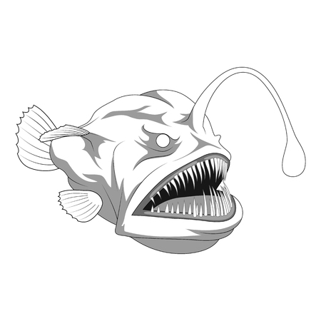 Scary anglerfish line art. vector illustration Stock Illustratie