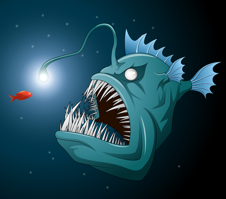 Anglerfish mouth on dark background. Luminous bait and anglerfish teeth. Vector illustration