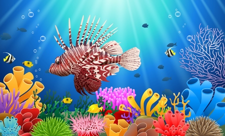 Lionfish and coral reefs in the sea. underwater beauty. Vector illustration