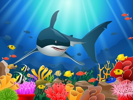 Sharks and coral reefs in the sea. underwater beauty. Vector illustration