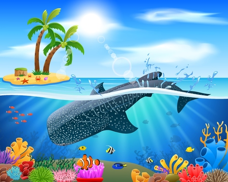 Whale shark cartoon with underwater view and coral background. Vector Illustration. Stock Illustratie