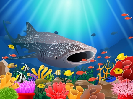 Whale shark cartoon with underwater view and coral background. Vector Illustration. Illustration